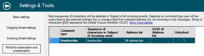 Odhlásenie sa príjemcu použitím špeciálneho slova v subjekte emailu.