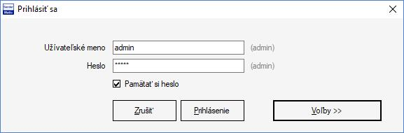 SenderMatic emailer - Firebird prihlasovacie okno